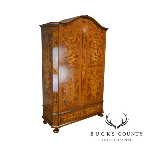 Dutch Marquetry Inlaid Custom Quality Large Two Door Armoire Wardrobe