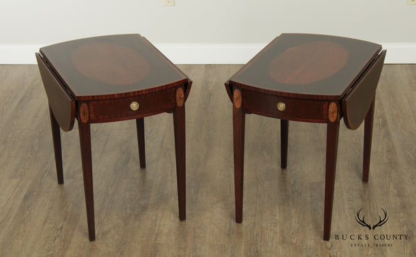Federal Style Vintage Pair Mahogany Inlaid Drop Leaf Pembroke Tables