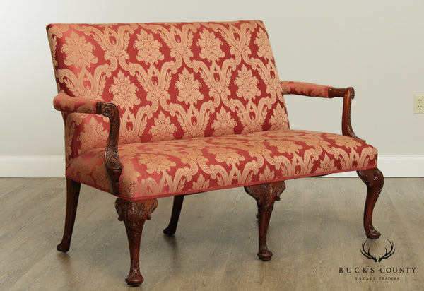 Georgian Style Custom Quality, Mahogany & Upholstered Settee