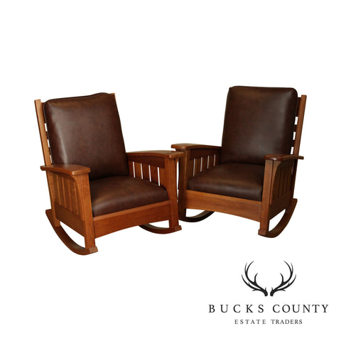 Stickley Mission Collection Large Pair Cherry & Leather Rockers
