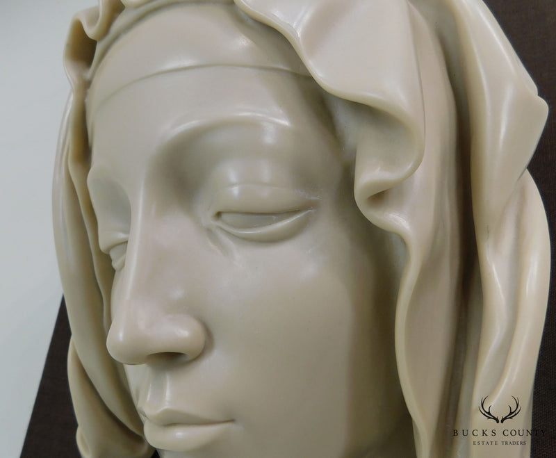 """Head of The Virgin"" Detail of the Pieta by Michelangelo, Cast Carrara Marble"