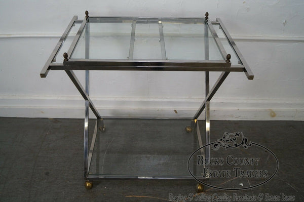 Hollywood Regency Vintage Chrome X Base Brass & Glass Server Cart