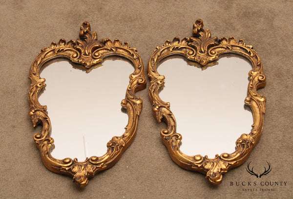 "Rococo Style Vintage Pair 25"" x 14"" x Gilt Carved Wall Mirrors"