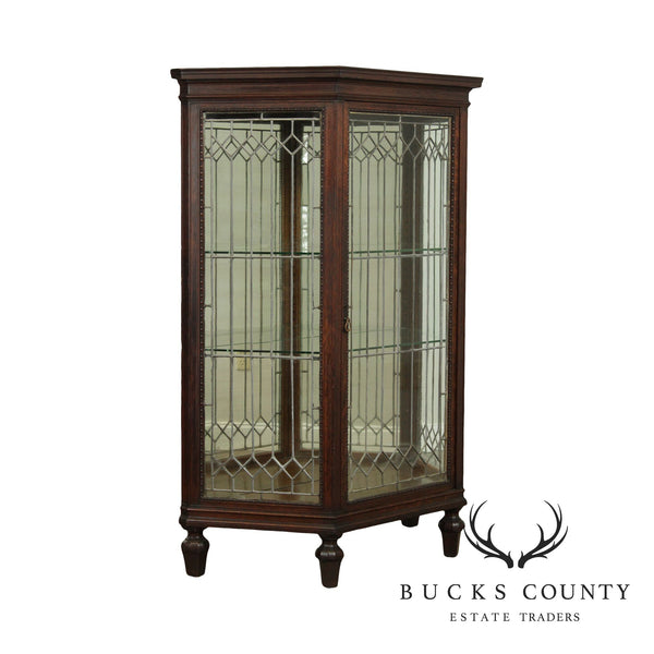 Antique Oak Leaded Glass Display China Cabinet