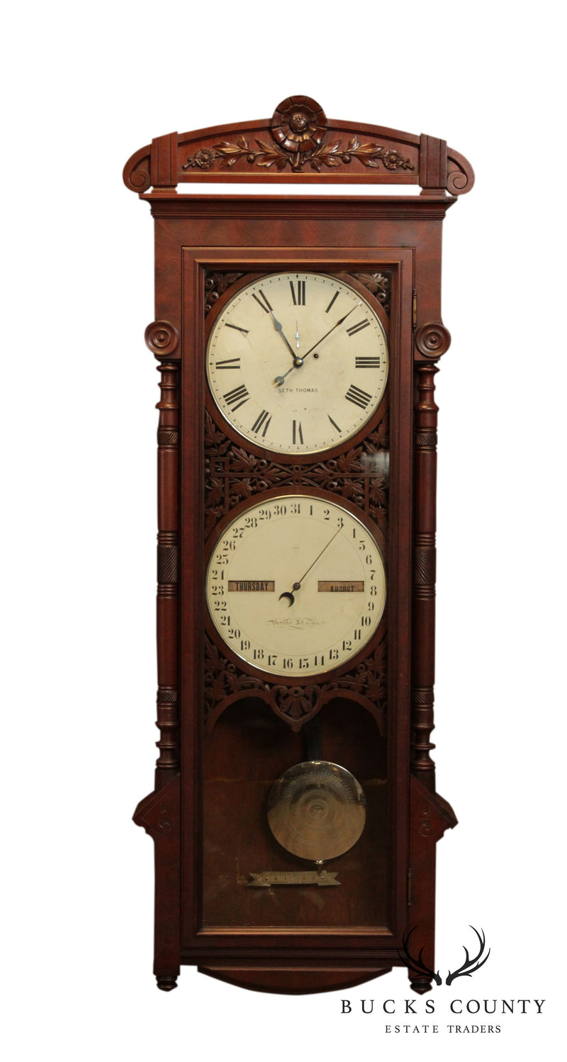 Seth Thomas Antique Victorian Walnut # 11 Office Calendar Clock