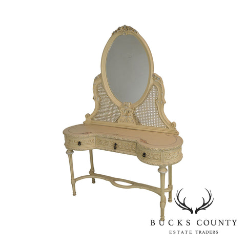 French Louis XVI Style Vintage Painted Vanity with Mirror