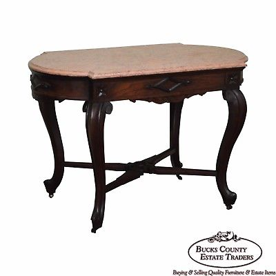 Victorian Walnut Antique Marble Top Parlor Table