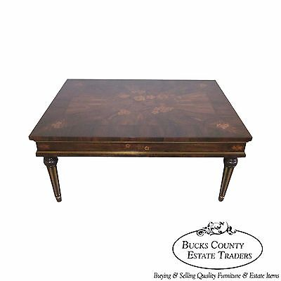 Custom French Regency Rosewood Inlaid Cocktail Table