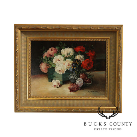 Signed Oil Painting on Canvas Still Life Flowers Custom Gilt Frame