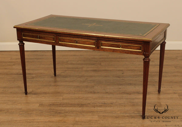 French Louis XVI Style Vintage Mahogany Leather Top Bureau Plat Writing Desk