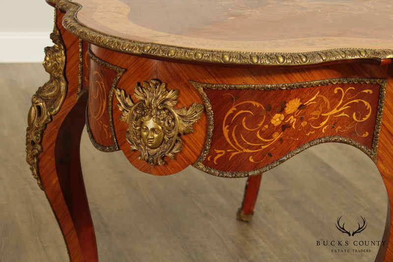 French Louis XV Rococo Style Marquetry Inlaid Writing Desk