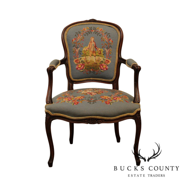 1920's French Louis XV Style Needlepoint Upholstered Armchair