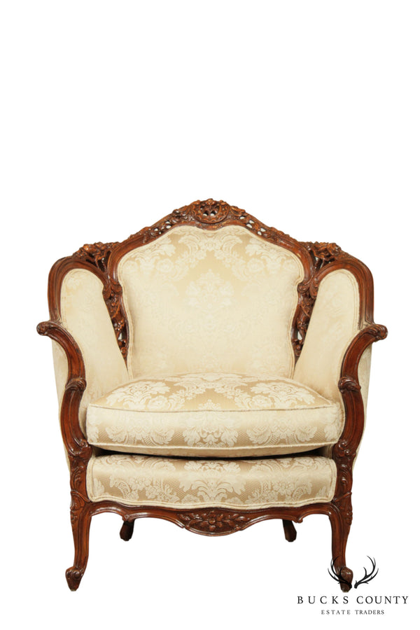 1940's French Baroque Style Carved Bergere Chair