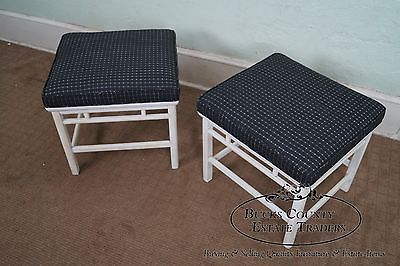 Quality Pair of James Mont Era Asian Influenced Painted Benches (A)