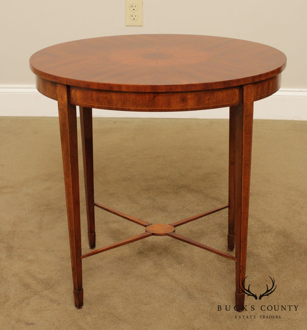 Maitland Smith Oval Mahogany Inlaid Hepplewhite Style Side Table