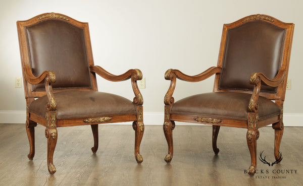 Jeffco French Louis XV Style Brown Leather Pair Fauteuil Armchairs