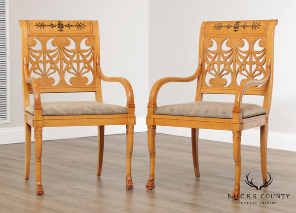 Classical Duncan Phyfe Empire Style Pair Blonde Wood Armchairs