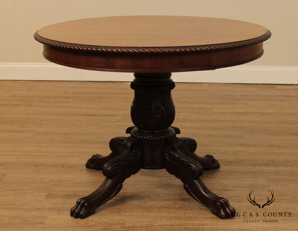 Antique American Carved Mahogany Empire Round Center Table