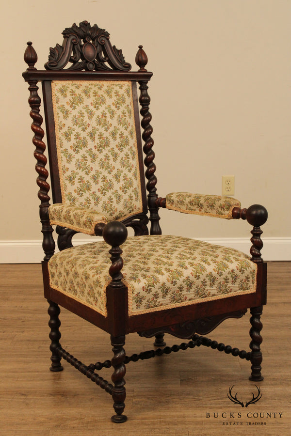 Antique 19th Century Renaissance Rosewood Barley Twist Armchair