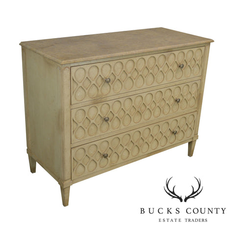 Hickory Chair Atelier Rustic Parchment Painted Marble Top Murano Chest of Drawers