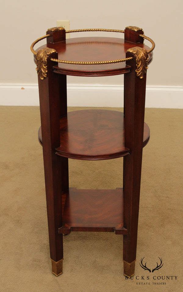 Maitland Smith Regency Style Mahogany 3 Tier Side Table