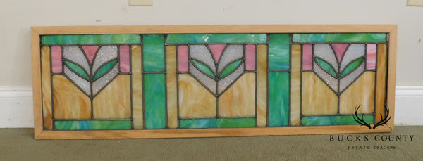 Antique Arts & Crafts Framed Stained Glass Transom Window (B)
