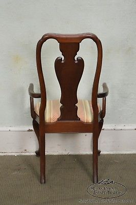 Knob Creek Solid Cherry Wood Set 6 Queen Anne Dining Chairs