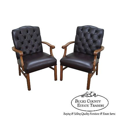 Quality Pair of Tufted Leather Chesterfield Chippendale Style Arm Chairs (B)