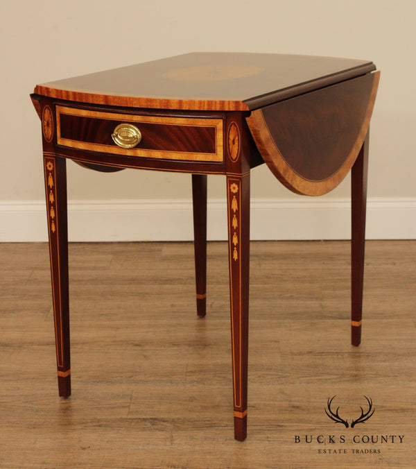 Councill Mahogany Inlaid Hepplewhite Style Dropleaf Pembroke Table