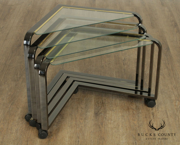 Design Institute of America Brushed Metal Nesting Seat Triangle Side Tables