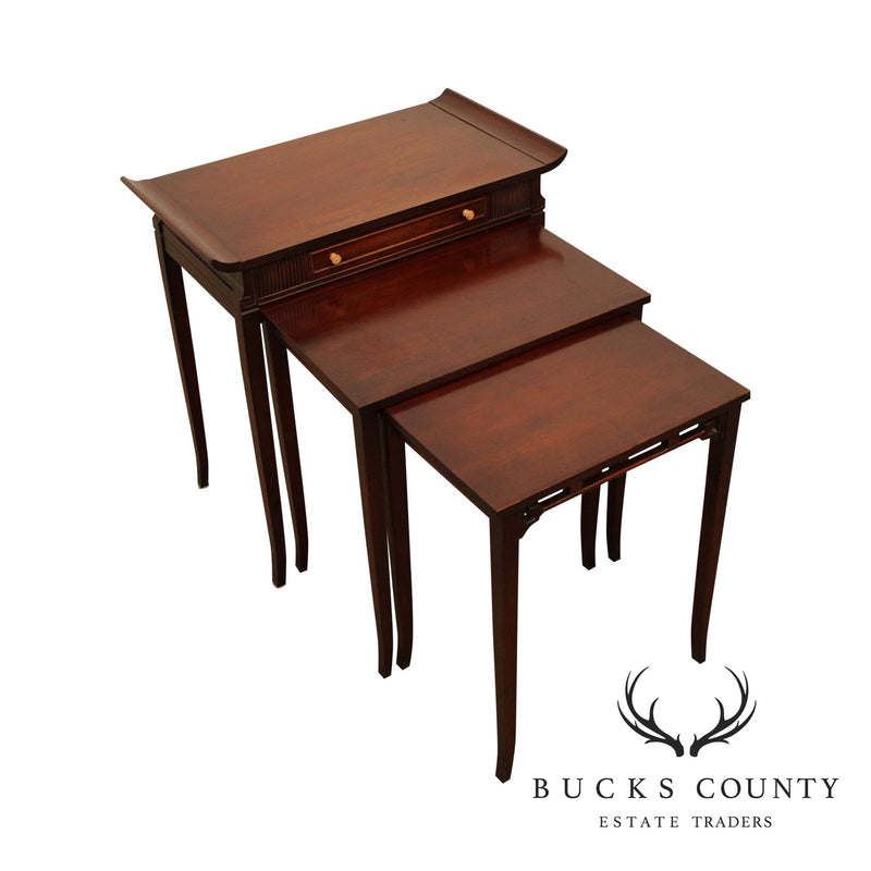 Ferguson Bros. Vintage 1950's Mahogany Pagoda Top Nesting Side Tables