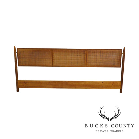 Danish Modern Vintage Teak and Cane King Headboard
