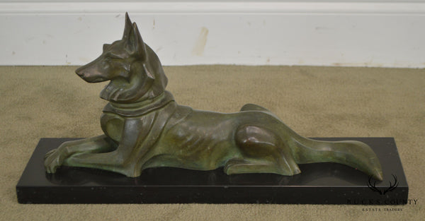 Art Deco Bronze German Shepherd Dog Sculpture