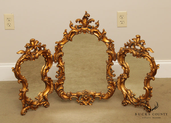 French Louis XV Style Gilt Carved Tri-Fold Vanity Mirror
