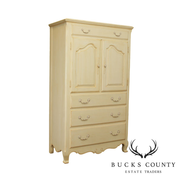 Ethan Allen Country French Cream Painted Gentlemans Armoire Tall Chest