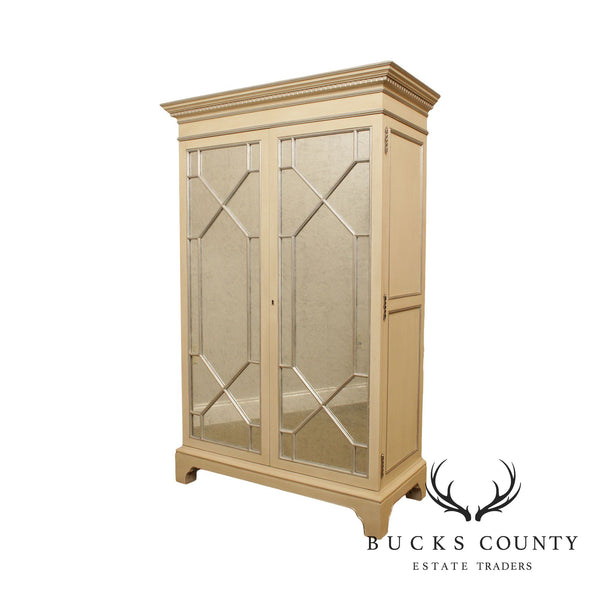 Lillian August Hickory White Mirror Door Bar Cabinet