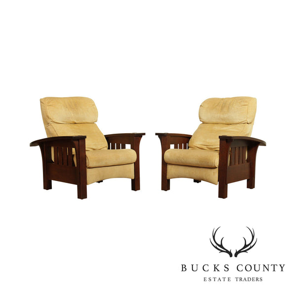 Stickley Mission Collection Oak Pair Bow Arm Recliners