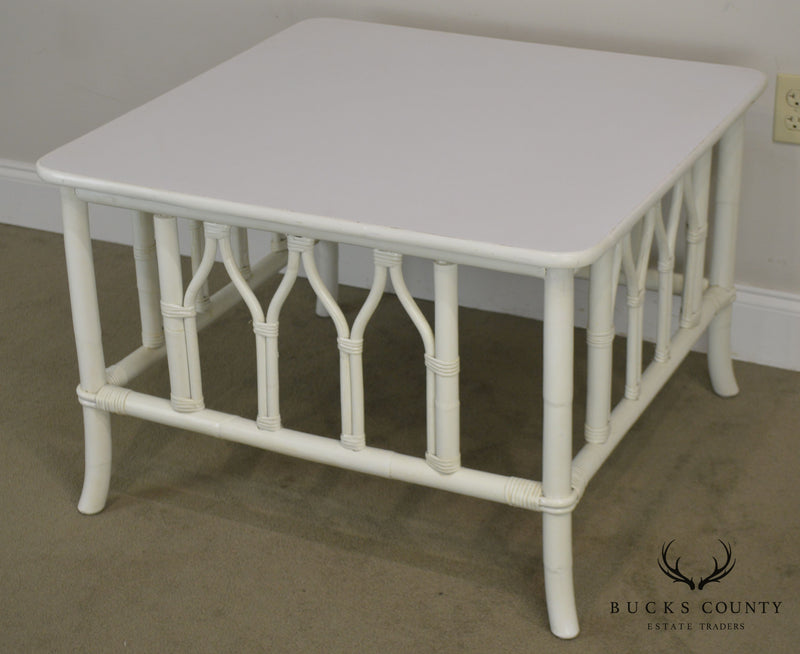 Ficks Reed White Painted Square Rattan Coffee Table