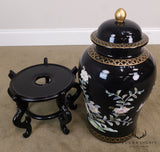 Asian Black Porcelain Lidded Jar on Stand W/ Mother of Pearl