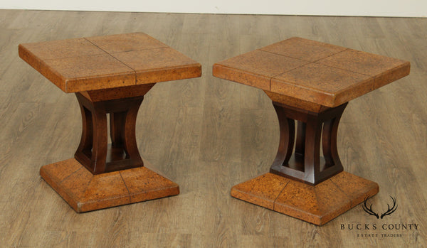Johnson-Handley-Johnson Co. Pair Mid Century Modern Cork & Wood Side Tables