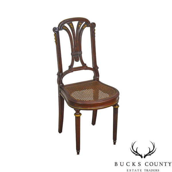 French Louis XVI Style Antique Mahogany Cane Seat Side Chair with Bronze Ormolu