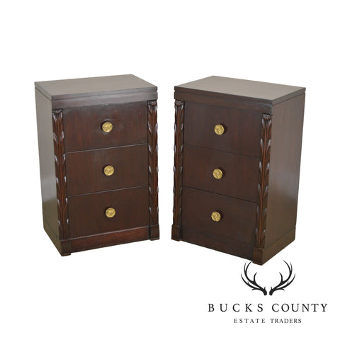 John Stuart Vintage Pair Hollywood Regency Style Mahogany Chests Nightstands