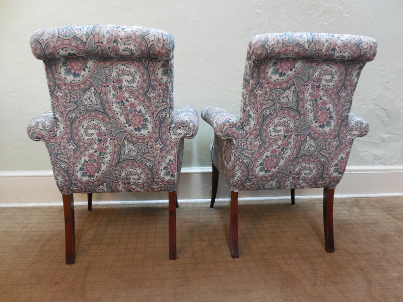 Antique 1920's Mahogany French Louis XV Style Pair Host Fire Side Arm Chairs