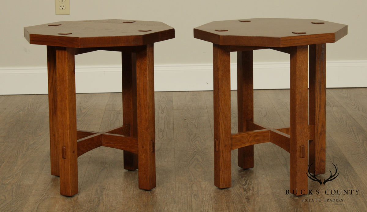 Stickley Mission Collection Oak Pair Octagonal Taborets