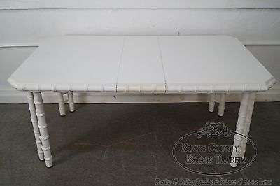 Hollywood Regency White Painted Faux Bamboo Dining Table