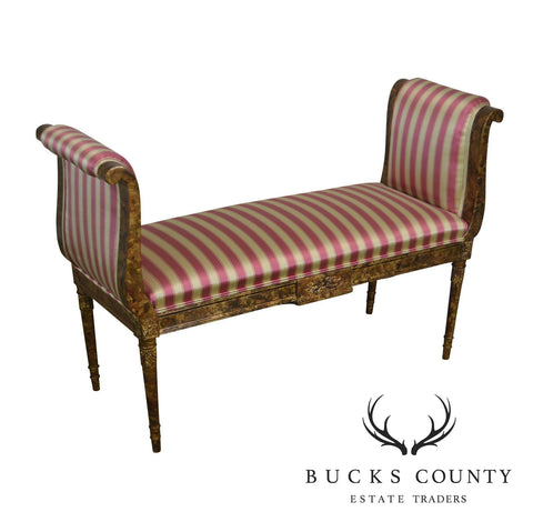 Regency Style Faux Tortise Shell High Arm Window Bench