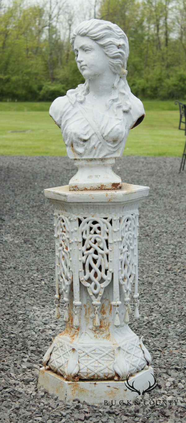 Vintage Cast Iron Bust Garden Statue On Pedestal