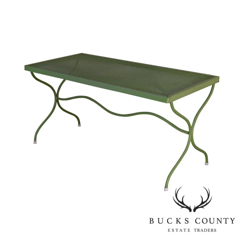Woodard Vintage Green Painted - Wrought Iron X Base Patio Coffee Table