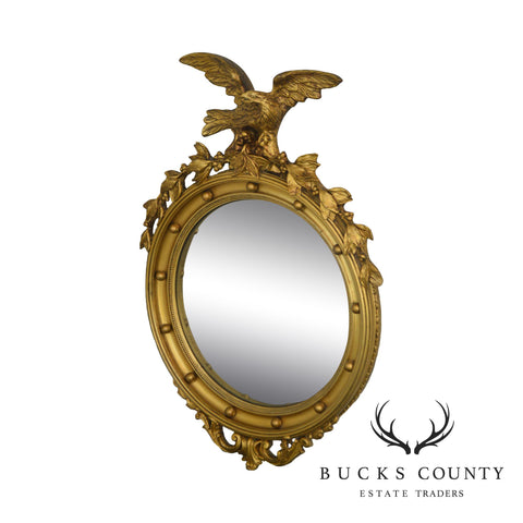 Federal Style Vintage Eagle Carved Gold Gilt Bulls Eye Mirror