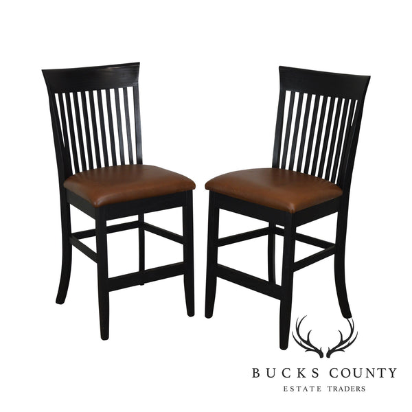 F & N Woodworking Pair Black Bar Stools with Brown Leather Seats